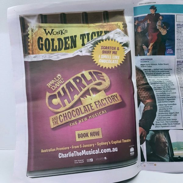 Charlie and the Chocolate Factory Musical scented newspaper