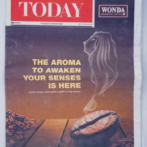 Wonda Coffee scented newspaper – front