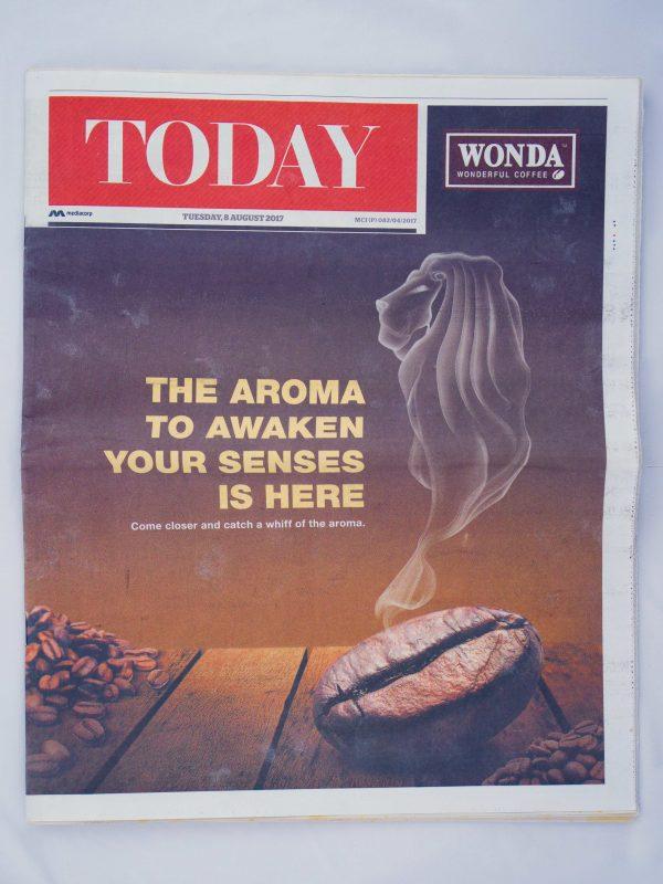 Wonda Coffee scented newspaper – front