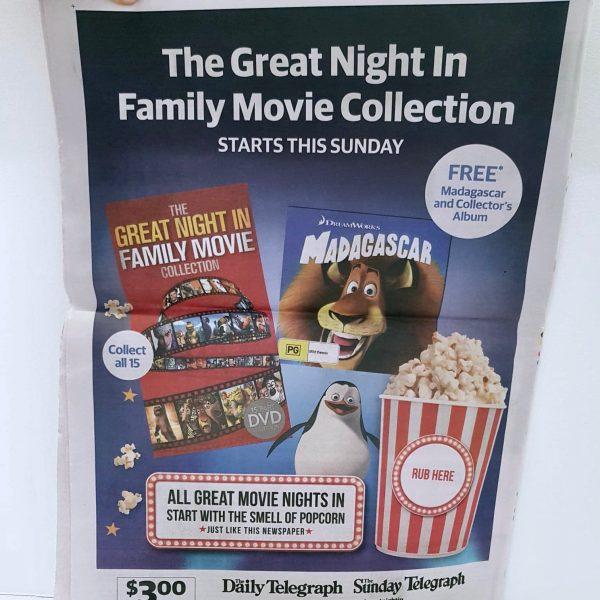 Movie Popcorn scented newspaper