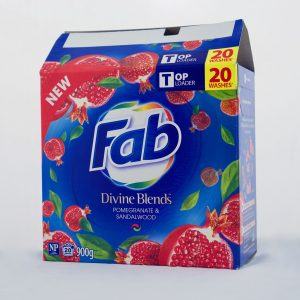 Fab Divine Blends detergent powder scented packaging